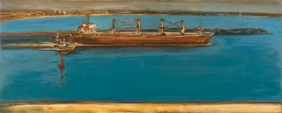 Crimson Buoy 2014 Oil on Hardboard 82 X 204 cm