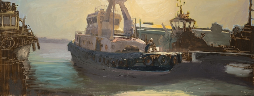 Harbour Hero 2014 Oil on Hardboard 800 X 2130