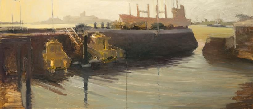 Pilot Harbour Lightfall 2014 Oil on Hardboard 106 X 244 cm