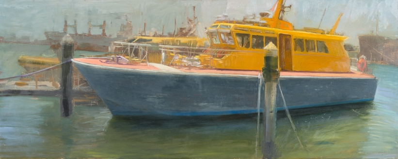Pilot Boats 2014 Oil on Hardboard 82 X 204 cm