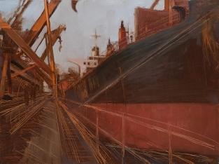 Tight Lines 2014 Oil on Hardboard 80 X 122 cm