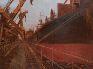 Tight Lines 2014 Oil on Hardboard 80 X 122 cm