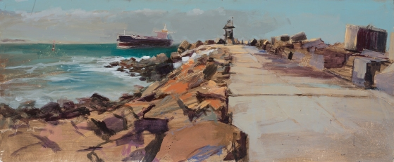 Breakwall 2014 Oil on Hardboard 60 X 122 cm