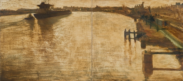 Morning Harbour 2014 Oil on Hardboard 80 X 176 cm...
