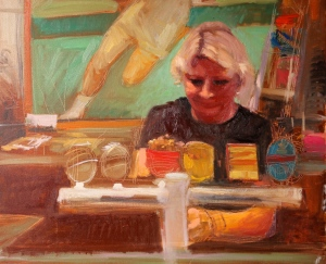 Ronda at the Bar 2105 Oil on Canvas 71.5 X 86.5 cm