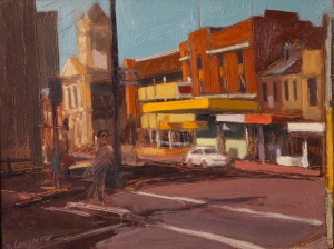 High Street Early Morning Oil on Timber Panel