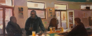 Afternoon Drinks Oil on Hardboard 32 X 81 cm