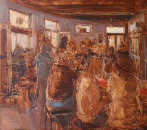 Front Bar Saturday Morning Oil on Hardboard 71.5 X 86.5 cm
